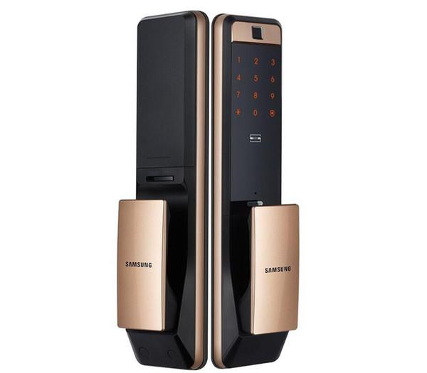 top popular SAMSUNG SHP-DP609 Keyless Fingerprint PUSH PULL Two Way Digital Door Lock English Version Big Mortise Gold Color 2021