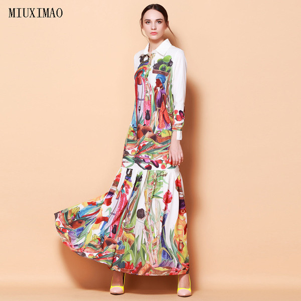 High Quality Newest Fashion Runway Turn Down Collar Maxi Dress Women's Long Sleeve Retro Art Printed Designer Long Dress Y19042401