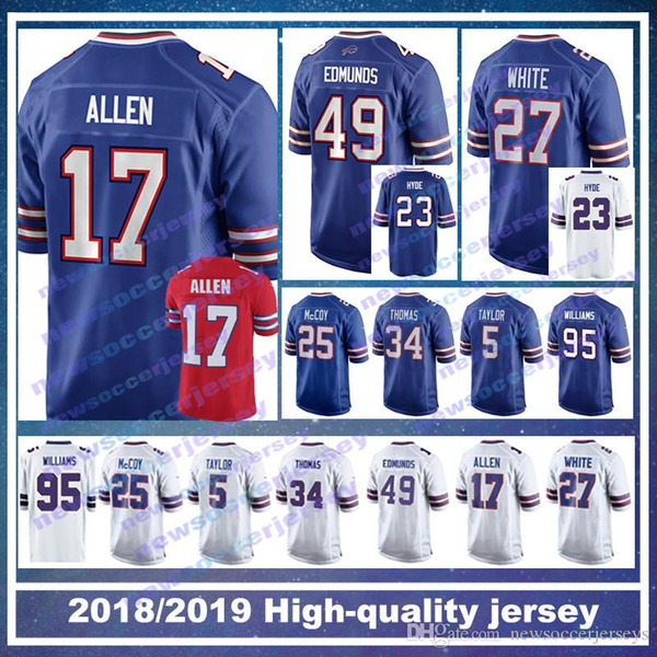 sports shoes bb1d4 c6fc6 2019 17 Josh Allen Buffalo Bills Jersey 49 Tremaine Edmunds 12 Jim Kelly 23  Micah Hyde 95 Kyle Williams 27 Tre'Davious Blanc LeSean McCoy From ...