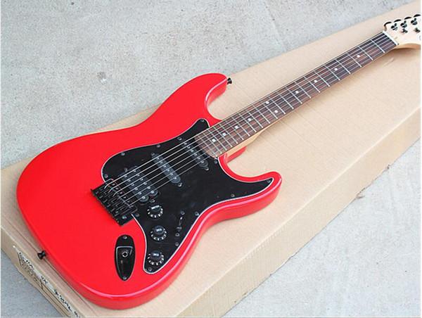 Boutique Vendita calda! Chitarra elettrica di colore rosso con battipenna nero, tastiera in palissandro, offerta personalizzata come da lei richiesto