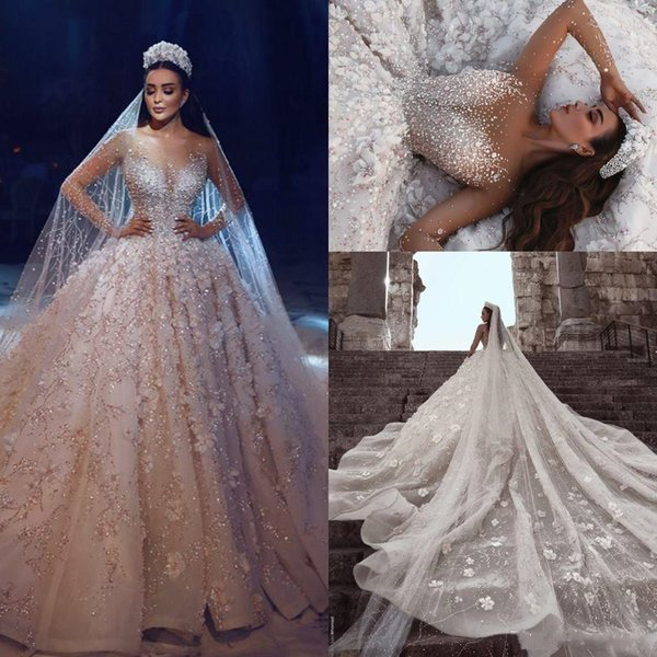 Luxury Ball Gown Wedding Dress Big Size Sheer Neck Long Sleeves Beading Flowers Tulle Saudi Arabic Budai Bridal Dresses Cathedral Train