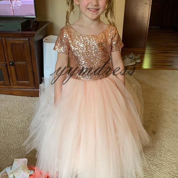 2019 Sparkly Rose Gold Sequins Tutu Flower Girls Dresses Toddler Infant Full Little Girl Wedding Party Gowns Kids Formal Communion Dress