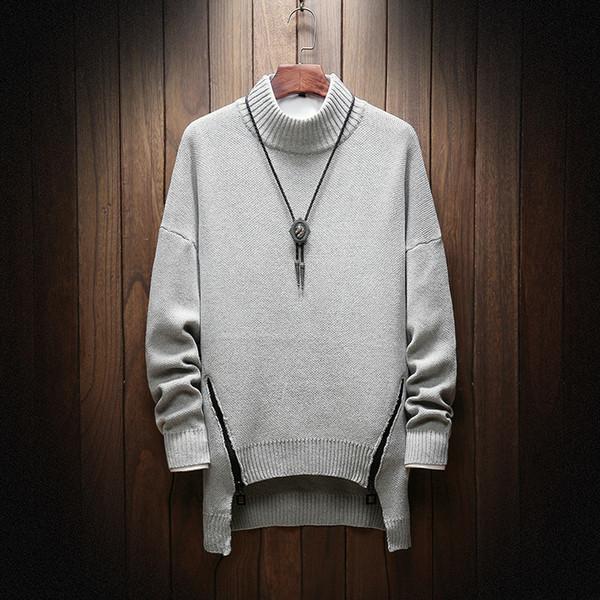 Suéter de invierno de los hombres de moda caliente informal suelta de manga  larga con cremallera 75c9c6638521