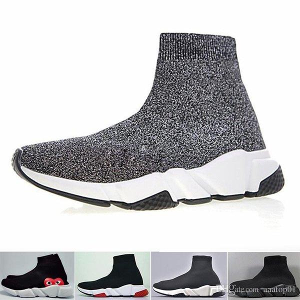 Balenciaga De nouvelles chaussures Designers Speed Chaussette Chaussures de sport stretch Mesh High Top Bottes pour des femmes des hommes paillettes noir blanc rouge Runner plat