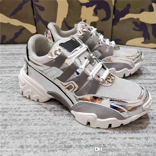 Zapatos deportivos para parejas, piel de becerro de diseño de colisión de color con tejido de malla transpirable, zapato Daddy de fondo grueso con caja