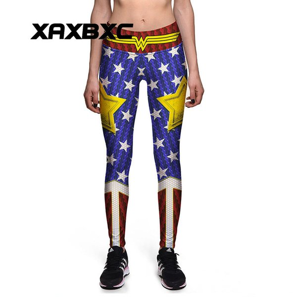 0080 Plus Size High Waist Silm Fitness Women Leggings Elastic Pants Trousers Sexy Girl Old Glory The Avengers Wonder Prints Q190509