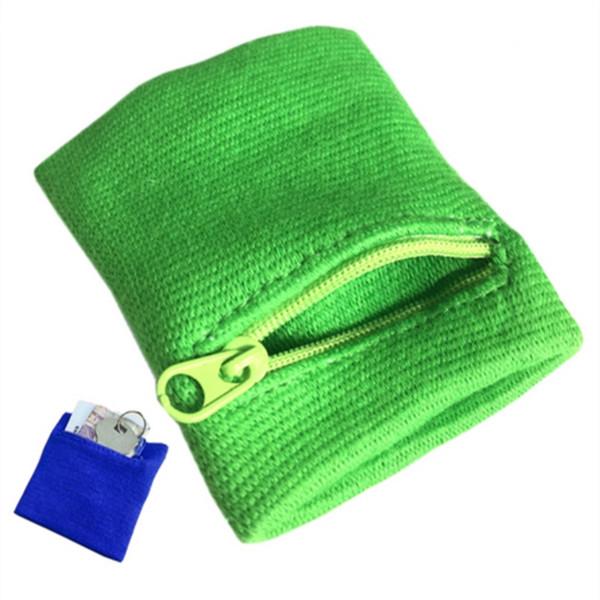 Borsa da polso in pelle con cerniera da polso in esecuzione Borsa da braccio per archetto da tasca con chiave magnetica Badminton Basket Sweatband