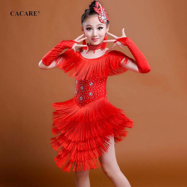 Robe à franges latine robe de danse salsa pour filles enfants enfants costume de danse 3 couleurs choix D0458 avec glands strass