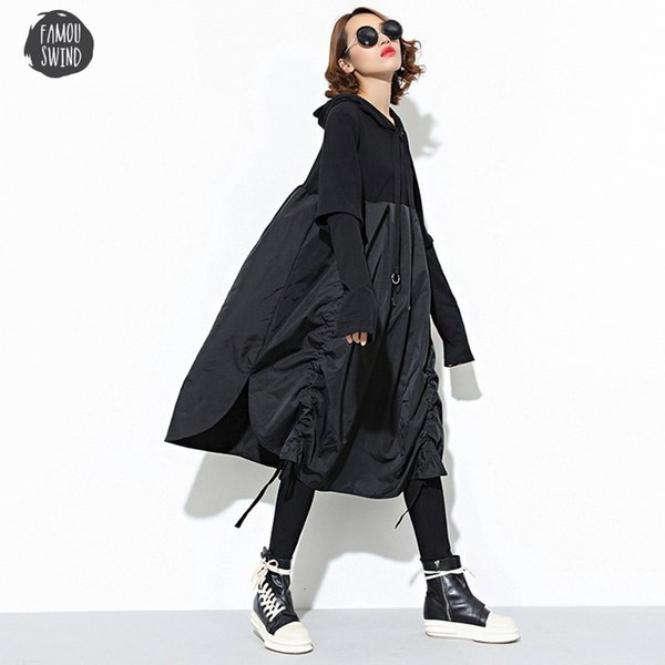 long dress 2019 new spring hooded long sleeve drawstring fold women joint loose split fashion batwing dolman sleeve tide jd07601