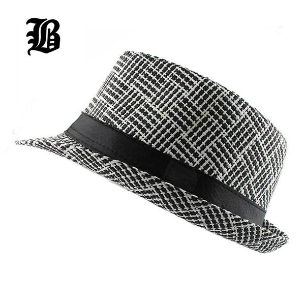 [FLB] Trendy Unisex Yan Fötr Fötr Gangster Kap Kadın erkek Yaz Plaj Güneş Straw Panama Şapka Erkekler Için Moda kafes Şapkalar