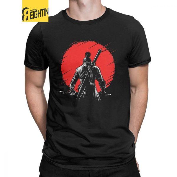 Men T-Shirts One-armed Wolf Red Sun Sekiro Shadows Die Twice Cotton Tee Shirt Short Sleeve Wolf Souls Samurai Game T Shirts