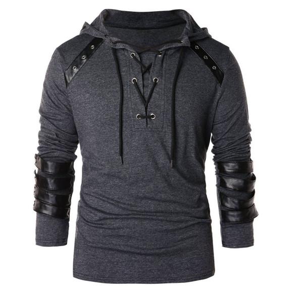 2019 New Spring Men Hoodies Kordelzug Leder Patchwork Kapuzen Sweatshirt Langarm Männlich Lässig Pullover Tops Blusen