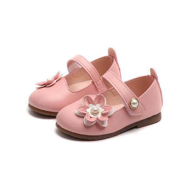 Kadın Bebek Yürüyor Ayakkabı Bebek Kız Pu Deri Ayakkabı Pembe Beyaz Bahar Sonbahar Yumuşak Alt Çiçekler Açık Çocuk Çocuk ayakkabı
