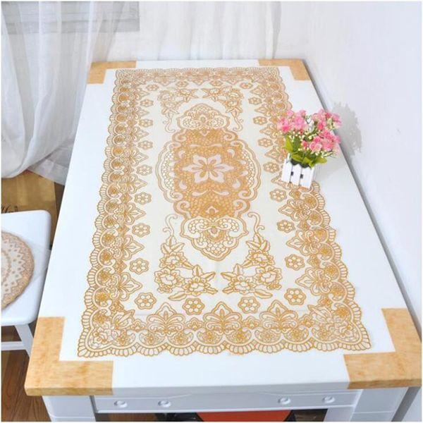 Tovaglia in PVC oro argento con paillettes fiore stampaggio tovaglietta impermeabile tavolo sovrapposizioni pad isolante runner per caffè tavolo da tè