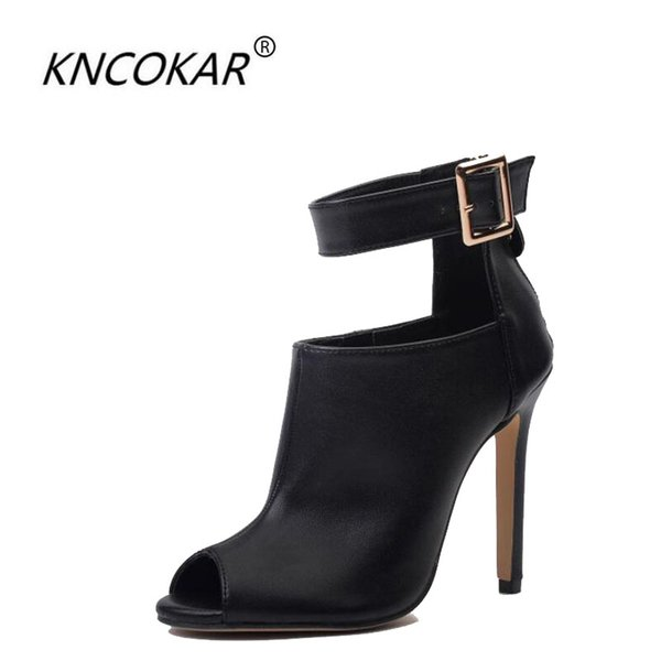 wholesale Walk a metal clasp high heel fish mouth cool boots thin heel high heels horse boots