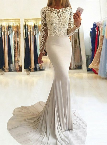 Vestidos de Fiesta Beaded Lace Prom Dresses Long Sleeve Mermaid Evening Gowns Cocktail Party Dress Formal Gown Robes de Soiree