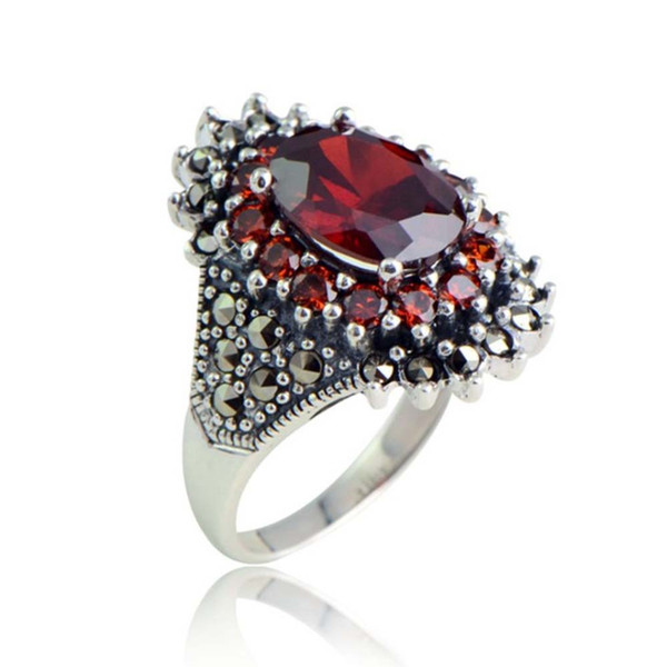 New Product Fashion 925 Sterling Silver Jewelry Classic Thai Silver Ladies Synthetic Garnet Marcasite Stone Ring
