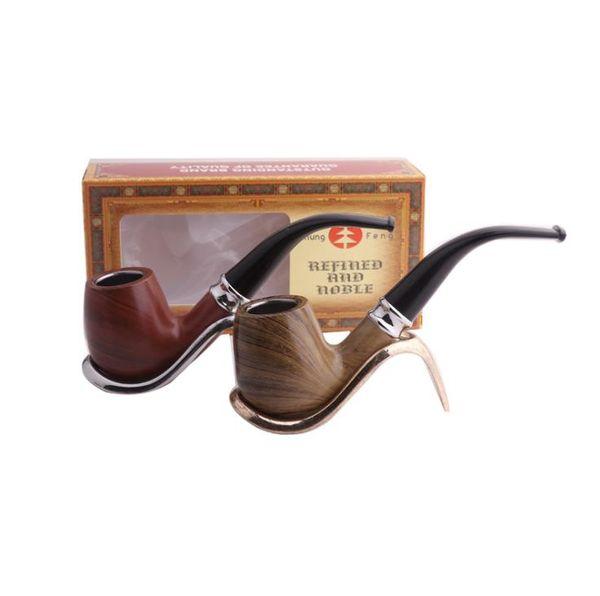 Новый Изгиб Молот Имитация Древесины Смолы Труба Молоток Портативный Фильтр для мужских Табачных Инструментов