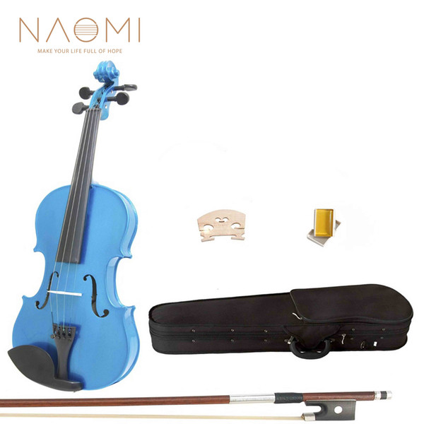 top popular NAOMI Acoustic Violin 4 4 Violin Blue Maple Wood Acoustic Violin + Case+Rosin+Bow For Students Beginners 2021