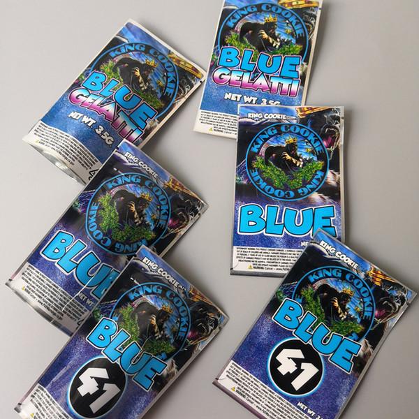 top popular 3 Types King COOKIES California 3.5g Mylar Bags KING COOKIES Blue 41 Cookies blue Gelatti and mylar bags 2021