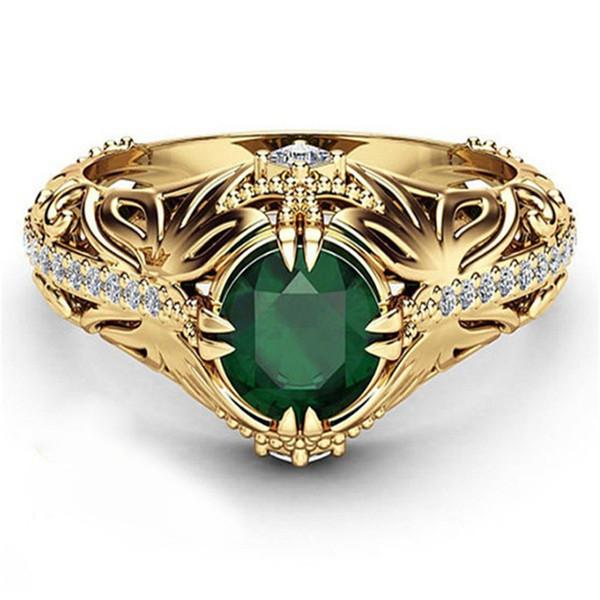 Старинные кольца для женщин позолоченные серебро изумрудно-зеленый драгоценный камень кольцо золото свадьба изысканные ювелирные изделия Анель bijoux аксессуары