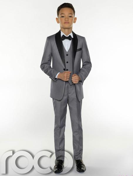 Grey Boys Tuxedo Boys Dinner Suits Boys Formal Suits Tuxedo for Kids Tuxedo Formal Occasion Suits For Little Men Three Pieces