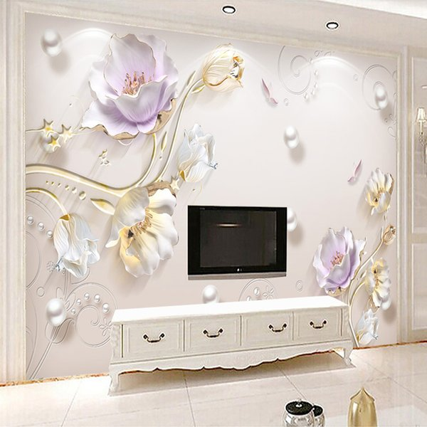 Mural de fotografia personalizado não-tecido papel de parede para paredes 3D alívio jóias flor tulipa pano de fundo simples moda papel de parede murais decoração