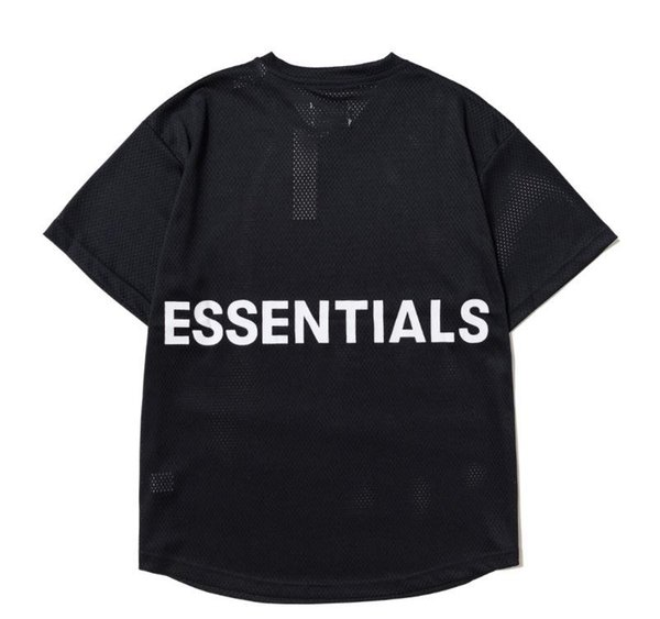 Hommes Designer T-shirts Rue FEAR DE DIEU ESSENTIEL manches courtes net tissu Hip Hop T-shirt Vêtements Casual S-XL