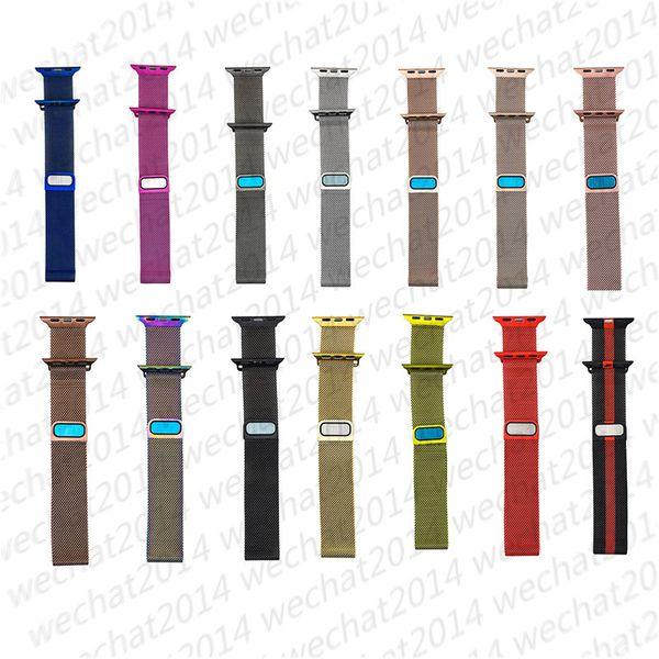 100 UNIDS Correa de Reloj de Pulsera de Acero Inoxidable de Milanese Loop Strap para Apple Watch Series 1 2 3 4 38 MM 42 MM 40 MM 44 MM
