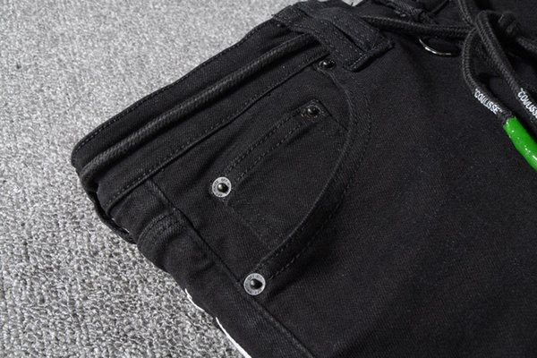 mens off designer jeans 2019 luxury designer white clothes brand pants Printed elastic black slim-legged jeans for men