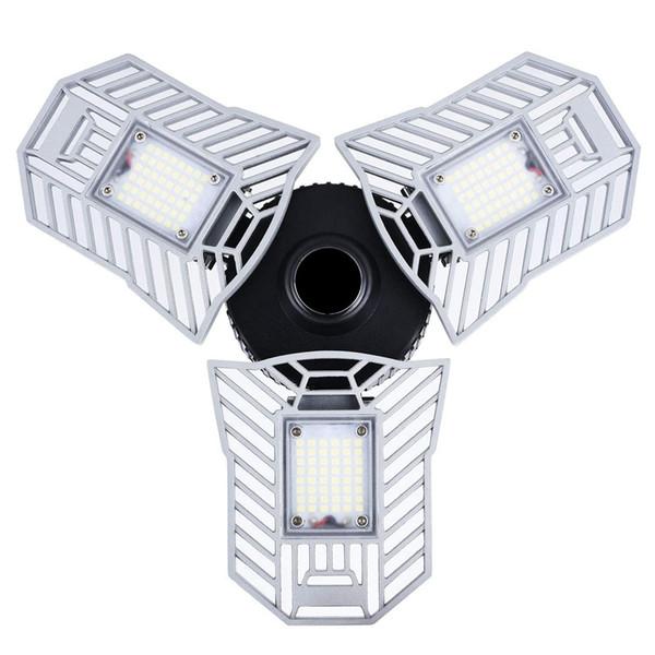 Garage Light Led 6000 Lumen 360 ° Grandangolo avvitabile 60W LED Super Bright White LED con 3 pannelli regolabili per garage Officina seminterrato
