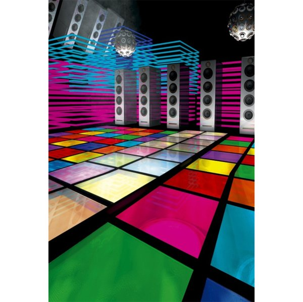 Laeacco Vinyl Backgrounds For Photography Disco Party Music Speaker Ball Floor Baby Cartoon Portrait Photo Backdrop Photo Studio