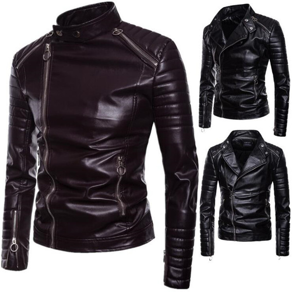 XIU LUO 5XL Masculina Top quality Classic Punk Leather Jacket Men Diagonal Zippers Leather Jacket Male Outerwear 2019 Spring