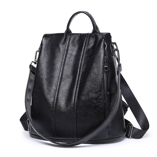 Fashion 2018 Genuine Leather Women Shopping Backpacks Ladies Daily Cowhide Backpack Female Girl's School Shoulder Rucksack C645