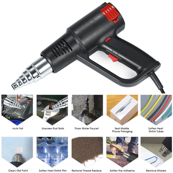 2000W industrial rápido Aquecimento Hot Air Gun temperatura ajustável Handheld Calor Blower Electric Heat Gun Ferramenta UE / US plug