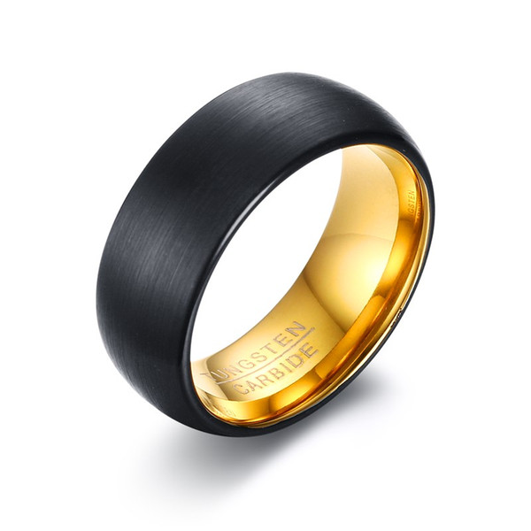 8mm Mens Black Brushed Finished Tungsten Carbide Ring Gold Plated Dome Wedding Band