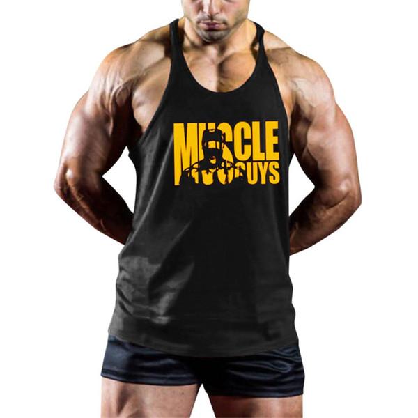 Homens verão Tops Carta de Impressão de Fitness Muscle Vest Sem Mangas musculação longarina Colete Tanque Tops gyms mens clothing # H25