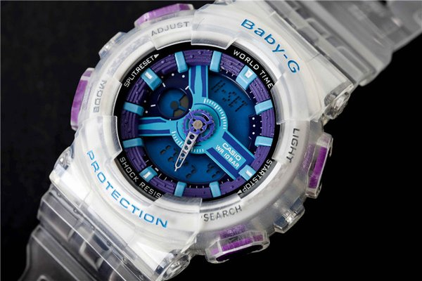 Baby G Watches Women's Chronograph Analog Quartz Girls Watch with Date, Luminous Hands, Waterproof Silicone Rubber Strap Wristswatch for Man