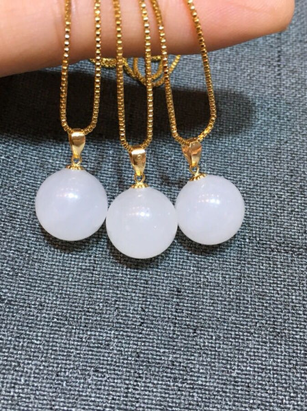 Zhe Ru Jewelry 18k oro intarsiato naturale Hetian bianco giada 12mm collana pendente di giada catena sexy clavicola