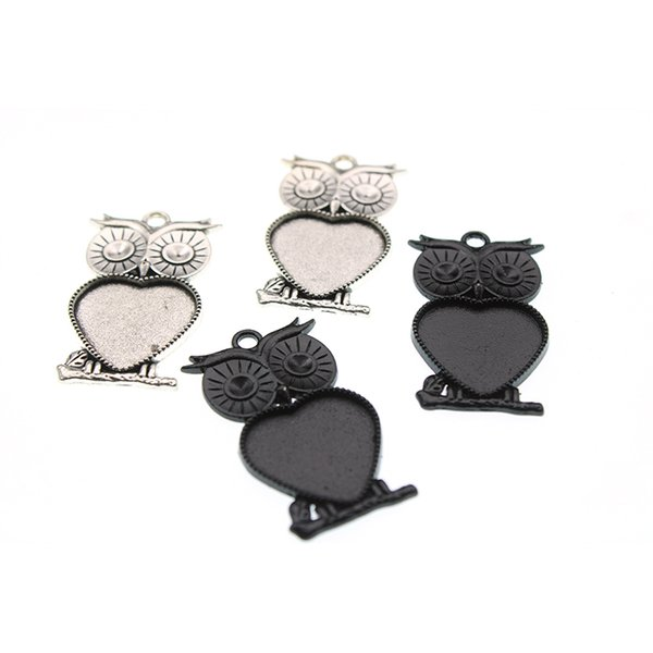 Antique Silver Black Owl Heart Pendant Blanks Cameo Cabochon Base Setting Pendant Tray fit 20mm Glass DIY Jewelry Making Z1077
