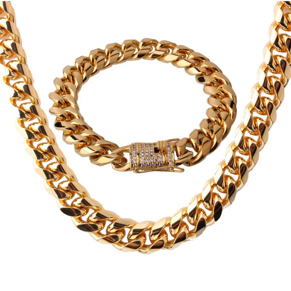 """Fashion Jewelry 316L Stainless Steel Gold Maimi Cuban Curb Link Chain Mens Womens Necklace 24"""" And Bracelet 8.66"""" New Gift 15MM"""