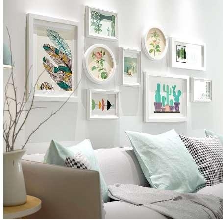 Neue stil wohnzimmer bilderrahmen kombination 9 stücke holz bilderrahmen set weiße kunst stil bilderrahmen set porta retrato