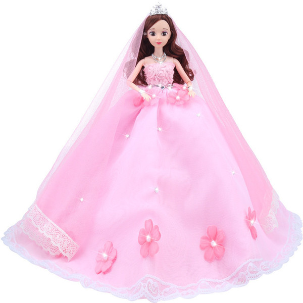 Barbie Doll Pink Colour Flower Will Wedding Dress A Doll Suit Gift Box More Joint Can Activity Qa