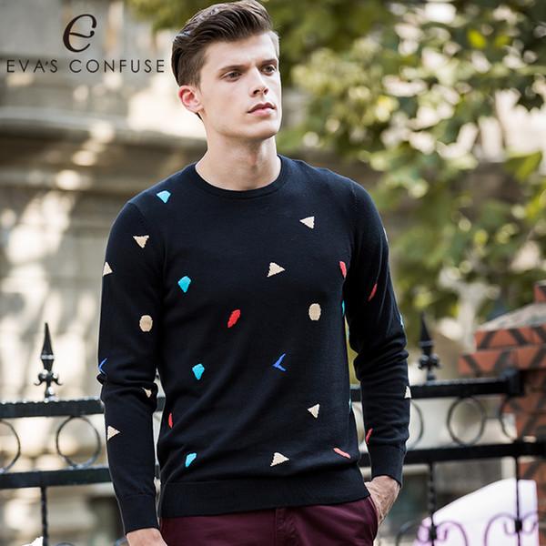 eva's confuse 100% cotton new fashion slim fit sweater men classic pure black pullover men o-neck cotton sweaters