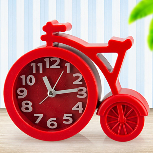 Mini Mute bicycle Desk Clock Table Alarm Clocks Candy colors children student clock home bedroom decoration