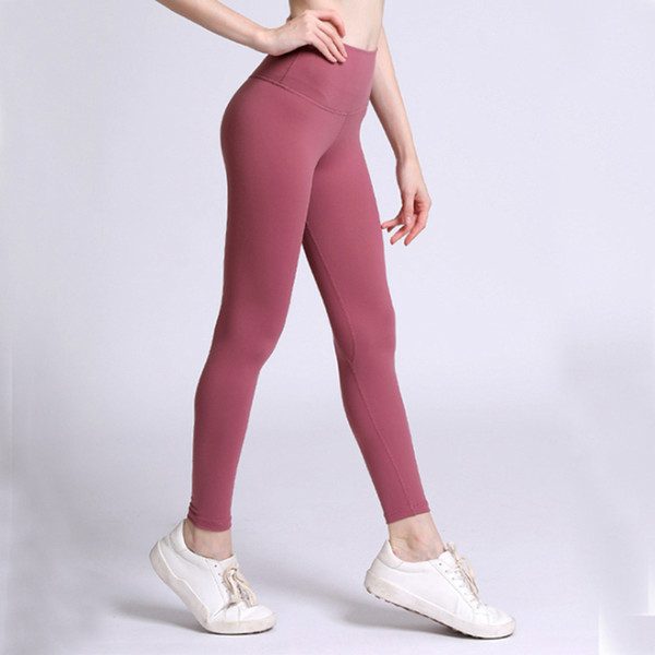 top popular High Waist Women yoga pants Solid Color Sports Gym Wear Leggings Elastic Fitness Lady Overall Full Tights Workout L-08 2020