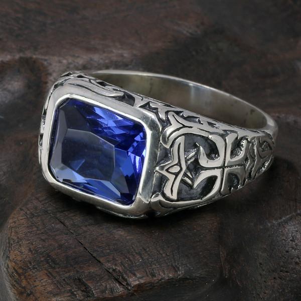 Echt Reine 925 Sterling Silber Ringe Für Männer Blau Naturkristall Stein Herren Ring Vintage Hohl Gravierte Blume Edlen Schmuck J 190515