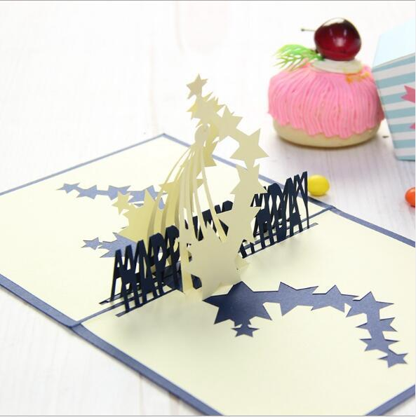 3D cards for birthday star pattern Birthday Card Creative stereo Paper Carving greeting cards gifts for decoration birthday card design hand