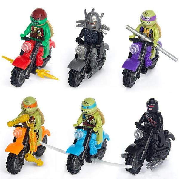 6PCS Turtles Figures Building Blocks Motorcycle chez les adolescentes Tortoise Infinity Collection modèle jouets pour les enfants MoviesVideo Brique Enfants Jouet