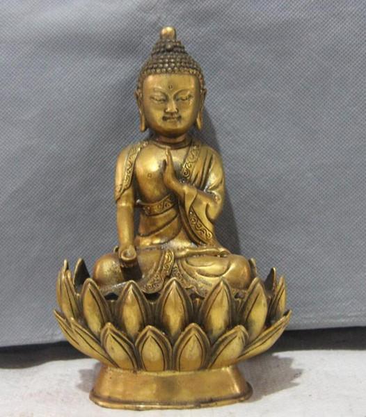 Chinese Buddhism Bronze gild Seat Lotus Flower Sakyamuni Tathagata Buddha Statue